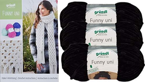 Gründl Funny 3x100g Softgarn SB Pack inkl. Häkelanleitung Schal gehäkelt mit Fransen aus 100% Polyester (3er Set 17 Schwarz)
