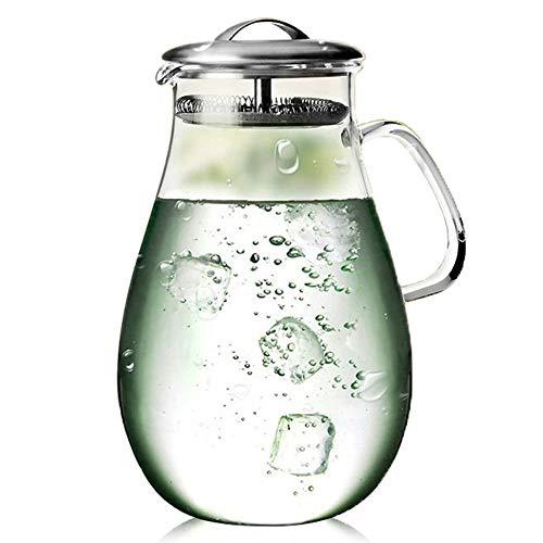 MINGZE Caraffa Vetro, Brocca di Vetro 1.9 L,Caraffa di Vetro con Coperchio e beccuccio, Brocca Vetro Caraffa Acqua Vetro per Acqua Calda/Fredda, Succo, tè e caffè