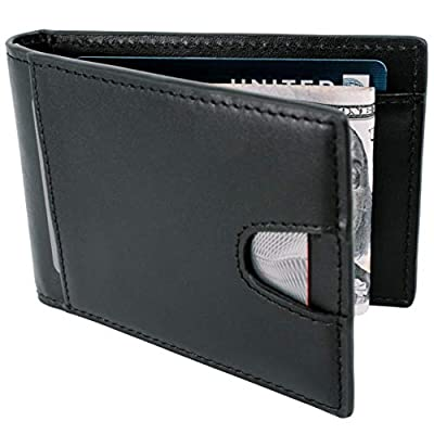 STAY FINE Money Clip Wallet | Minimalist Front Pocket Wallets | Effective RFID Blocking Wallets for Men | Genuine Leather mens bifold wallet | Thin Card Holders with ID Window (Black)