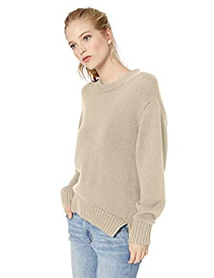 Amazon Brand - Daily Ritual Women's 100% Cotton Chunky Long-Sleeve Crew Pullover Sweater, Oatmeal Heather, Medium by Daily Ritual