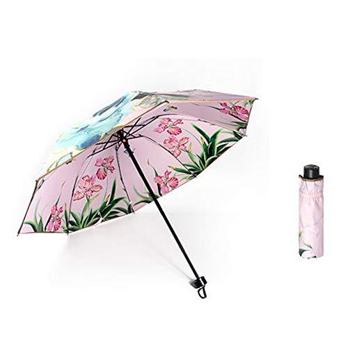 HDJX parasol, dubbele paraplu, parasol, vlinderdans, dubbelzijdig bedrukken, paraplu, zwarte kunststof zonnebrandcrème, anti-UV vrouwelijk stijlnaam size 4
