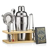 Mixology Bartender Kit and Cocktail Shaker Set for Drink Mixing | Mixology Set with 6 Bar Set Tools and Pinewood Stand Makes It the Perfect Home Cocktail Kit | All You Need For Your Bartender Tool K