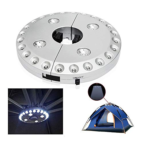 Lampe sans fil pour parasol/terrasse avec 24 + 4 LED, idéale pour le camping, les tentes, et une utilisation en extérieur - argenté