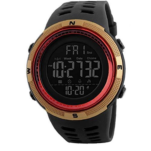 Hiinice Los Estudiantes del Reloj Reloj Militar electrónico Digital con Pulsera de Cuero de Lectura fácil a Prueba de Agua Reloj de Pulsera clásico cronómetro de Oro Trae Latido del corazón