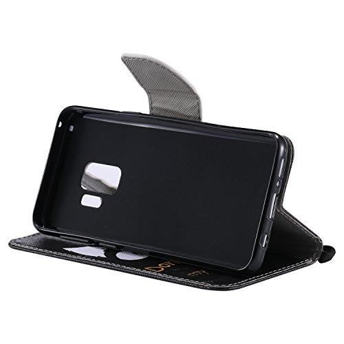 Laybomo Schuzhülle für Samsung Galaxy S9 Ledertasche Hülle Weiches Silikon TPU Beutel mit Kartensteckplatz Stehen Bilderrahmen Brieftasche Schale Handyhülle für Samsung Galaxy S9, Hübsch Bemalt