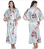 Albornoz de Kimono de Seda para Mujer, Bata de satén, Batas de Seda, Batas Sexis nocturnas para Dama de Honor de Verano de Talla grande-a49-M
