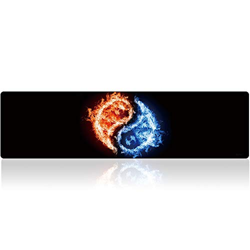 BigTech Extended Mat Desk Pad Mousepad Large Gaming Mouse Pad XXL Long Non-Slip Rubber Mice Pads Stitched Edges 59.1'x15.7' (D-Yinyang)