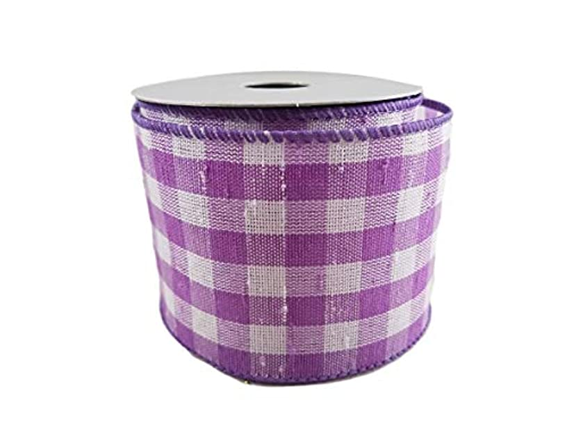 Spring and Easter Pastel Wired Edge Ribbon for Wreaths, Crafts, Hair Bows - Lavender Gingham Plaid, 2.5 Inches by 3 Yards (Lavender Plaid)
