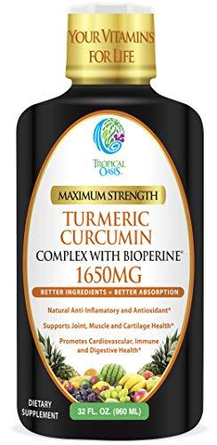 Liquid Turmeric Curcumin w/ Bioperine 1650mg Maximum Strength | Highest Potency of Turmeric, Black Pepper & Vitamin C | Natural Anti-Inflammatory & Joint Support | 98% Absorption Rate | 32 Serv