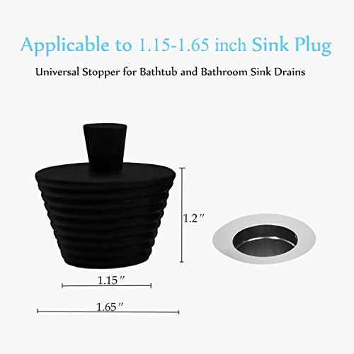 3 Pack Tub Stopper, KongNai Universal Bathtub Stopper for Drain Cover, Bath Tub Sink Drain Stopper Replacement, Kitchen Bathroom Sink Stopper (White, Gray, Black)