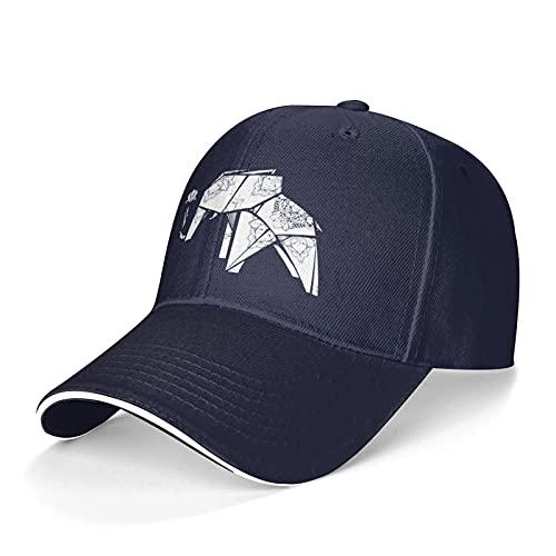 Origami Elephant Casquette Baseball Cap, Dad Cap, Truck Driver Cap, Classic Adjustable. Navy
