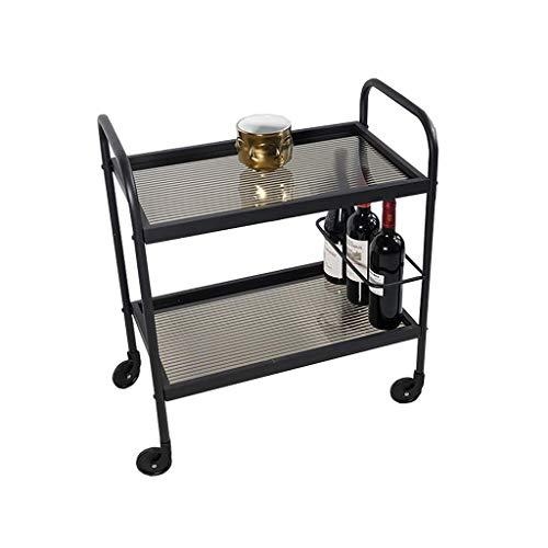 XUSHEN-HU Carro de vino de hierro forjado, 2 niveles, carrito de servicio multifuncional (negro, 60 x 35 x 69 cm) cocina