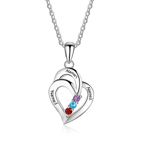 Personalized Love Heart Mothers Name Pendant Necklace with 3 5A Cubic Zirconia Birthstones Silver-Tone 18K Gold Plated Jewelry Gifts Necklace for Women Mom Wife Sister (silver)
