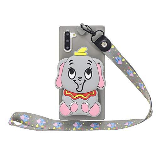 Miagon Silikon Hülle für Samsung Galaxy Note 10,3D Süß Brieftasche Lager Tasche Design mit Halskette Kordel Schnur Handykette Necklace Band,Grau Elefant