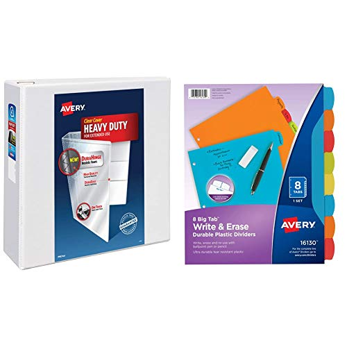 """Avery Heavy Duty View 3 Ring Binder, 4"""" One Touch Slant Ring, Holds 8.5"""" x 11"""" Paper, 1 White Binder (79704) & 16130 Big Tab Write & Erase Durable Plastic Dividers, 8 Multicolor Tabs, 1 Set"""