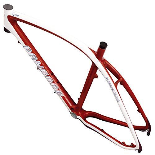 """PANERAE Cuadro Bicicleta Fibra Carbono BTT 26"""" - 27.5"""" Incluye Tija y Cierre (XL, Burdeos)"""