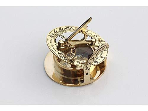 Brújula náutica de latón con reloj solar, coleccionable,