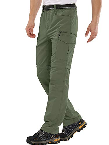 Mens Hiking Pants Outdoor Quick Drying Convertible Zip Off Moisture Wicking, Sun Protection Cargo Shorts,6055,Army Green,40