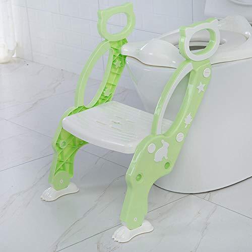 Siège de formation pour pot de bébé Tabourets-escabeaux Siège de toilette pour pot pour enfants avec échelle réglable Formation de toilette pour bébé Siège pliant-Vert
