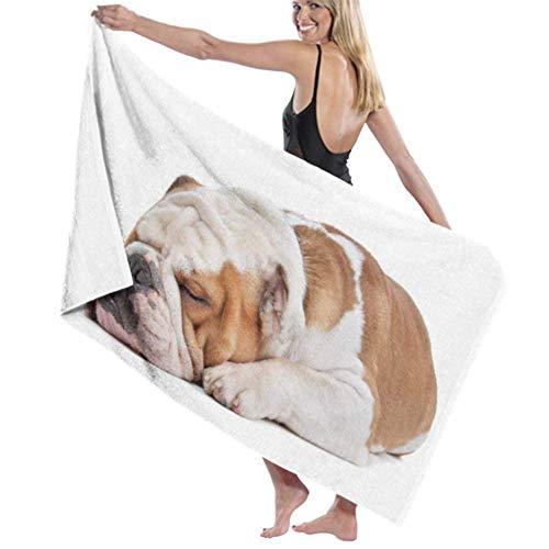 DUKAI Mikrofaser-Strandtuch, englische Bulldogge vorne weiße Badetücher Schnelltrocknende leichte Reisetücher Ultra-saugfähige Strandbadetücher Waschlappen für Badezimmer