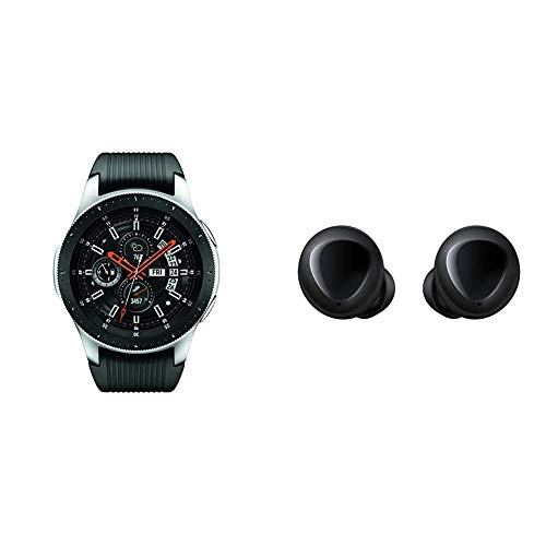 Samsung Galaxy Smartwatch (46mm) Silver (Bluetooth) – US Version with Warranty & Galaxy Buds, Bluetooth True Wireless Earbuds (Wireless Charging Case Included), Black - US Version with Warranty