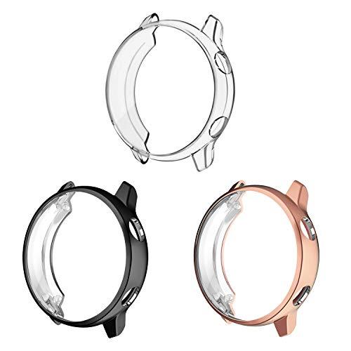 Fintie Protector de Pantalla [3 Piezas] Compatible con Samsung Galaxy Watch Active 40mm - Funda de TPU Blanda Cubierta Protectora A Prueba de Choques, Negro/Transparente/Oro Rosa