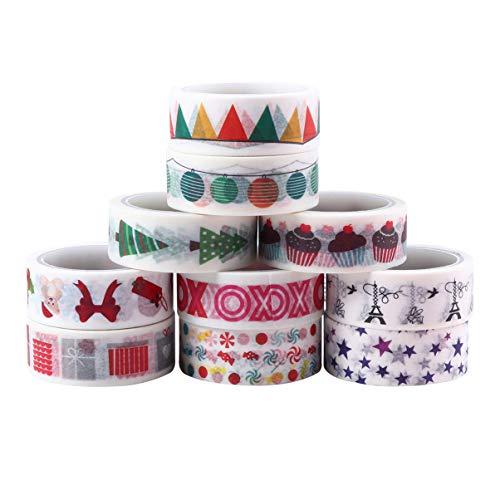 NUOLUX 10個和紙テープ手帳テープマスキングテープ和風diyアルバム装飾紙テープ粘着クラフトおしゃれかわいい誕生日プレゼントデコレーション剥がしやすい