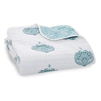 aden + anais Dream Blanket, Boutique Muslin Baby Blankets for Girls & Boys, Ideal Newborn Nursery & Crib Blanket, Unisex Toddler & Infant Bedding, Shower & Registry Gift, Teal - Paisley Drop