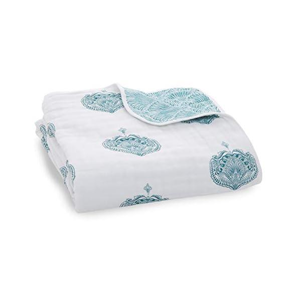 aden + anais Dream Blanket, Boutique Muslin Baby Blankets for Girls & Boys, Ideal Newborn Nursery & Crib Blanket, Unisex Toddler & Infant Bedding, Shower & Registry Gift, Teal – Paisley Drop