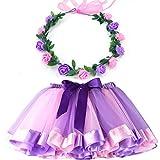 MY-PRETTYGS Layered Tulle Ballet Rainbow Tutu Skirt with Flower Crown Wreath Headband (Light Purple, L,4-8T)