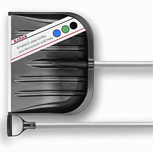 KADAX Schneeschaufel mit ergonomischem Griff, Kunststoff-Blatt, Schneeschieber, ideale Schneeschippe für kleine und große Schneemengen, Schneeräumer, stabil (Aluminium-Stiel, schwarz)