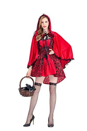 Shangrui Damen Süß Weihnachten Rot Kleider Kostüm, Kleid mit Kapuze, Mottoparty Cosplay Kostüm Karneval kostüm