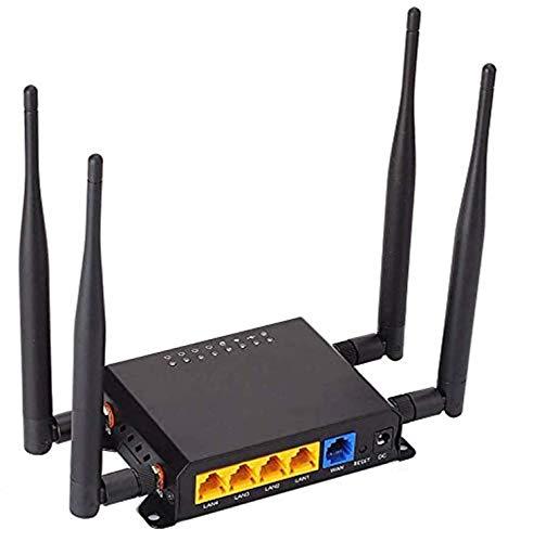 KuWFi 4G Router, 300Mbps Cat6 3G 4G LTE Extensor de enrutador inalámbrico WiFi para automóvil Routers WiFi OpenWRT con Puerto USB Ranura para Tarjeta SIM con Antena Externa para Europa Medio Oriente