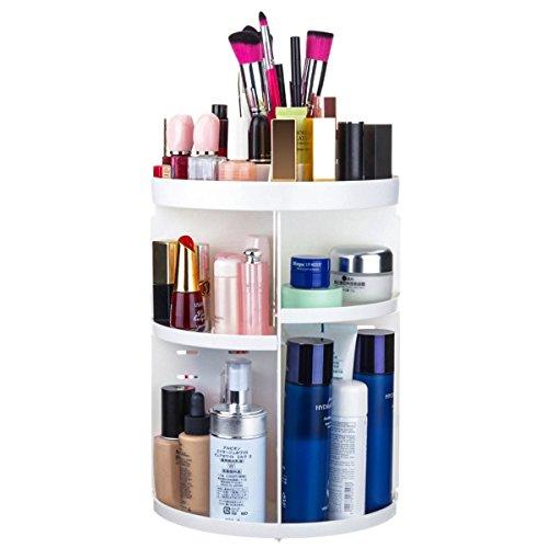 Rangement de Maquillage Baban Boîte de Rangement Maquillage Organisateur de Cosmétiques Rotatif à 360° avec Étagère en Plastique Large Capacité, Pour Tous Types d'Accessoires de Maquillage Blanc