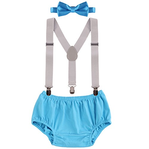 Baby Boys Cake Smash Outfit First Birthday Bloomers Bowtie Suspenders Clothes set (Blue+Gray)