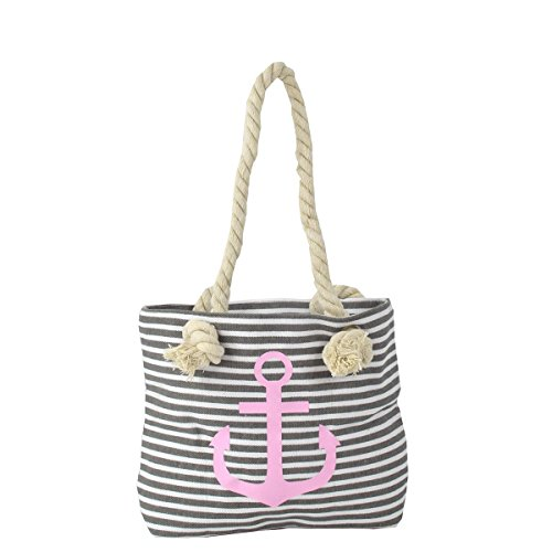 Sonia Originelli XS Shopper Anker Sarah Einkaufstasche Tasche Maritim Farbe Grau-Rosa