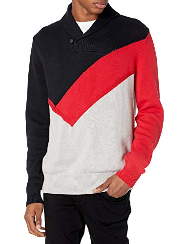 Sean John mens Long Sleeve Shawl Neck Color Block Intarisa Pullover Sweater, Pm Black, XX-Large US