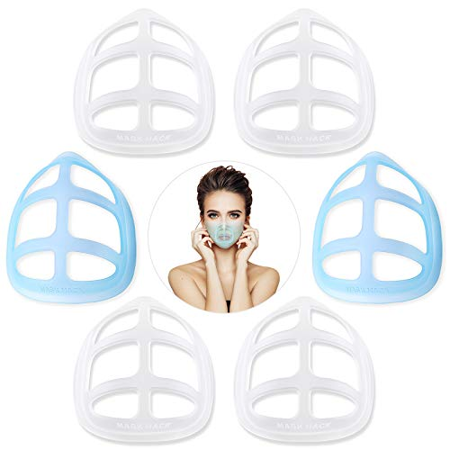 Silicone Mask Bracket- breathe cup-Cool Protection Stand -Face Inner Support Frame-Turtle cloth Mask Insert-Under Frame for Lipstick Protector nose Mouth to Create More Breathing Space Washable Reusable-(6Pcs Large)