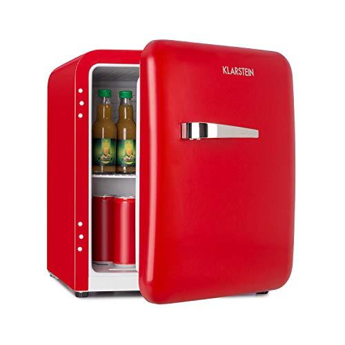 Klarstein Audrey Mini - Mininevera, Eficiencia energética F, Capacidad de 48 L, 2 niveles, 2 compartimentos en la puerta, Temperatura ajustable 0-10 °C, Zona de botellas, Altura regulable, Rojo