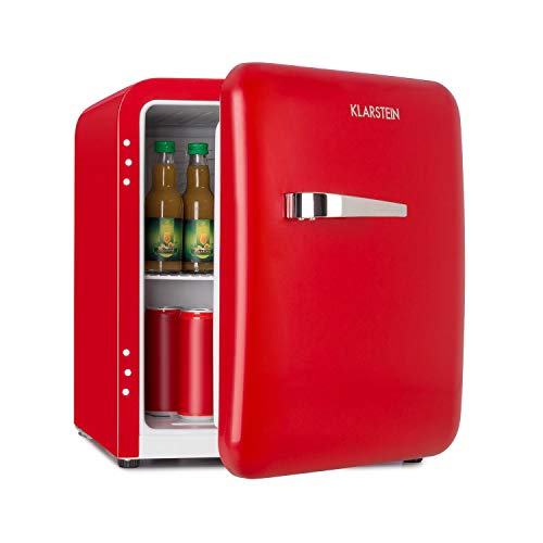 Klarstein Audrey Mini nevera retro - Mininevera, Nevera para bebidas, Eficiencia energética de tipo A+, 48 litros de capacidad, 2 plantas, Temperaturas de 0-10 °C, Zona de botellas, Rojo