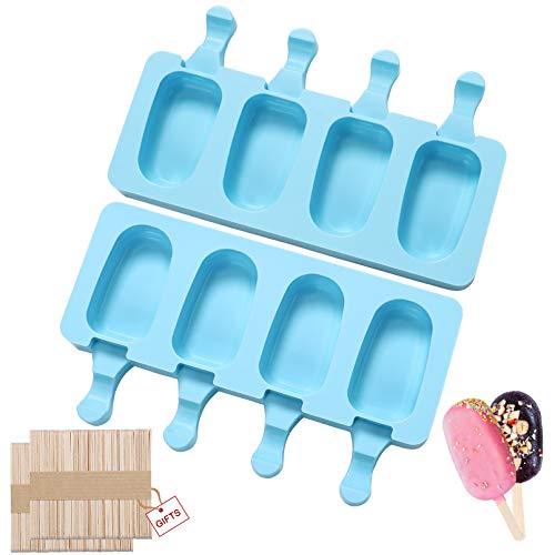 Eisformen eis am stiel silikon-Popsicle Formen Set-eis am stiel formen-Cake Pop Ice Lolly Mould-eis selber machen formen-Eisförmchen Eislutscher Formen Eis Sticks100 Stück Holzstäbchen(Blau-2Stück)