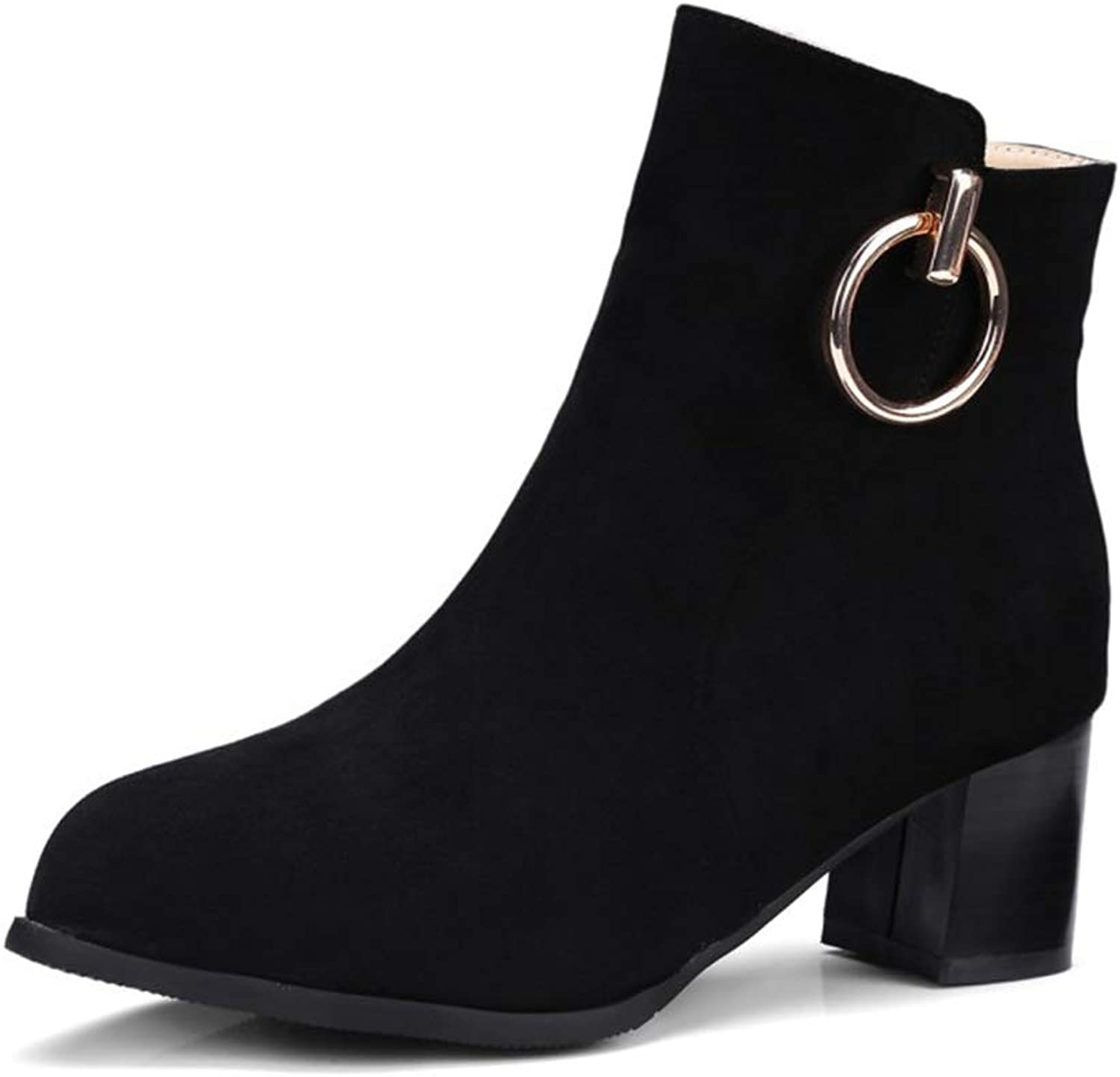 Sam Carle Women Boots, Fashion Winter Thick Heel Pointed Toe Metal Decoration Ankle Boots