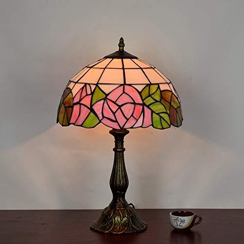 Gal Lámpara de mesa de cristal con diseño de rosa europea, estilo Tiffany, 30 x 48 cm