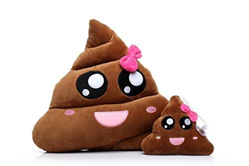 Ignislife Pair of Cute Emoji Poop Pillows Plush Toys Throw Pillows Plush Toys 14 X 14 Inch
