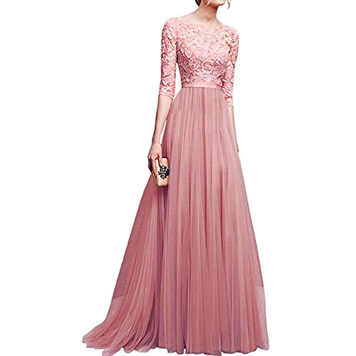 Women's Vintage Floral Lace 3/4 Sleeves Long Cocktail Bridesmaid Maxi Dress Floor Length Retro Formal Wedding Pageant Evening Prom Party Dance Gown Plus Size V-Neck Pleated Swing Dress Pink XL