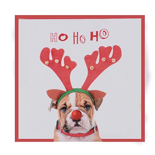 TRIXES Einweg-Weihnachtsservietten Ho Ho Ho – Bulldogge mit Rentierohren - Pack mit 20 Papierservietten