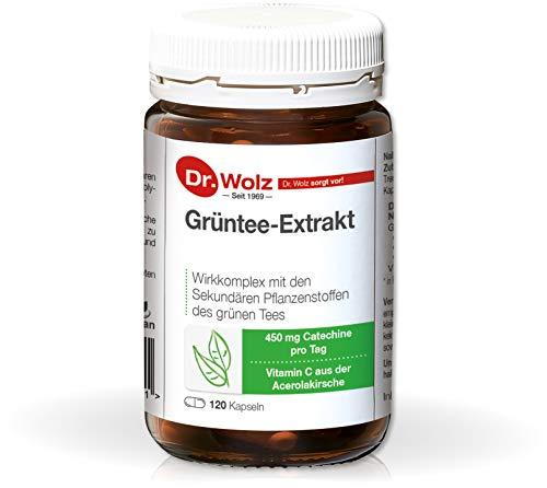 Grüntee-Extrakt von Dr. Wolz, 450mg Catechine aus grünem Tee, mit natürlichem Vitamin C aus der Acerolakirsche, 120 Kapseln