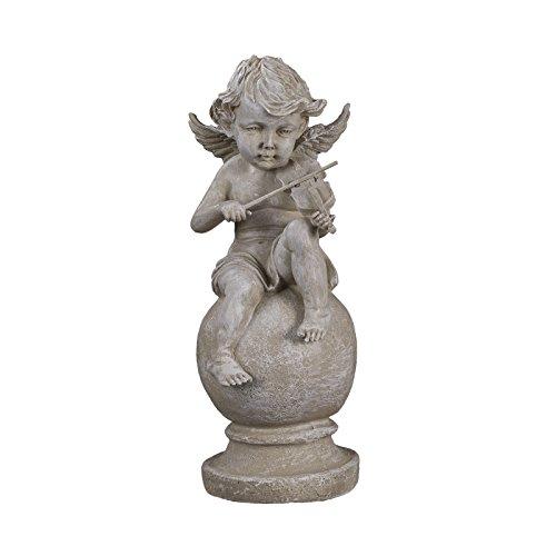 Sarah B Engel NF28766D, Groß 37 cm hoch, Gartenengel, Deko Engel, Antik Weiß, Dekorationsfigur für Innen und Außen, Polyresin, Gartendekoration, Gartenfigur, Engelsfigur, Schutzengel, Skulptur,