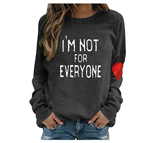 Hotkey I'm NOT for Everyone Women's Sweatshirt, Crewneck Long Sleeve Tops Funny Letter Heart Print Pullover Top Jumper Blouse
