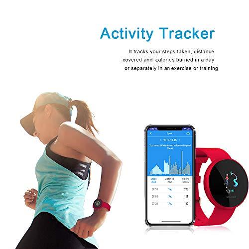 Smartwatch Mujer,Reloj de Monitor de Ritmo cardíaco con Pantalla a Color, Pantalla de Reloj con Efecto de Despertador automático IP68 Reloj Inteligente Hombres (Rojo) miniatura